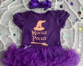 Hocus Pocus Witch Halloween Outfit, Baby Girl 39 s Tutu Romper with Bow Headband, Newborn Fancy Dress Witch Costume Halloween Party