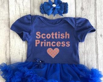 b391eb172c Scottish Princess Tartan Baby Girl's Tutu Romper with Bow Headband, Cute  Baby Shower Gift Party Newborn Present Fashion Celebrate Scotland