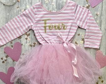 Girl/'s 2nd Birthday Silver Crown Pink and White Long Sleeved striped Tutu Dress with detachable Bow Two Year Old Girl Princess Party Dress