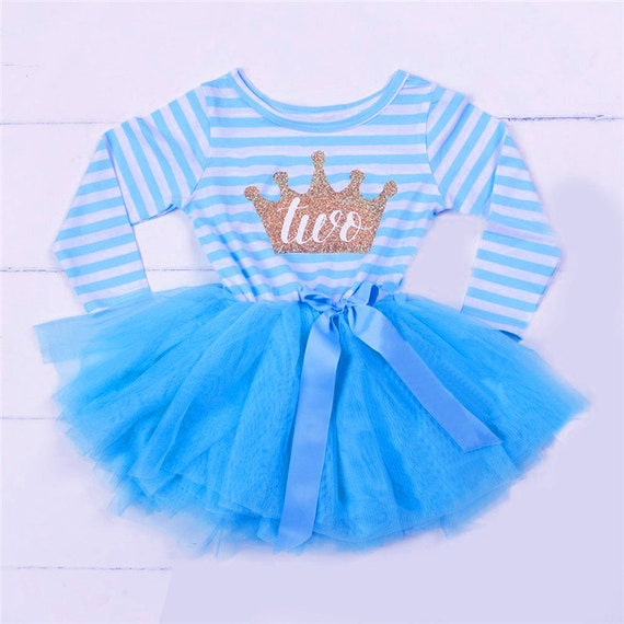 d07e88931 Baby Girl s 2nd Birthday Crown Blue and White Long Sleeved