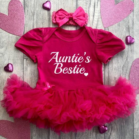 Niece White glitter Auntie/'s Bestie Baby Girl/'s Hot Pink tutu romper with matching bow headband Baby shower Newborn Love Cute Present