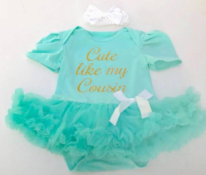 f6f945518858 Baby Girls Cute Like My Cousin Tutu Romper Cute Baby Shower