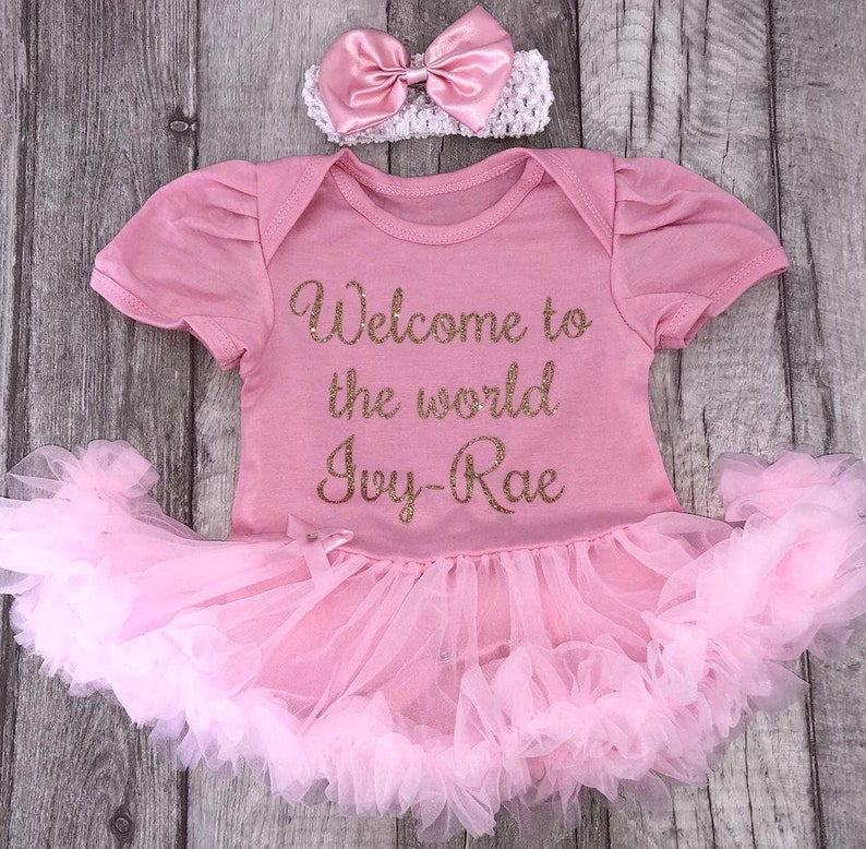 ccc2508f9 Welcome to the World Personalised Baby Girl's Pink Tutu | Etsy
