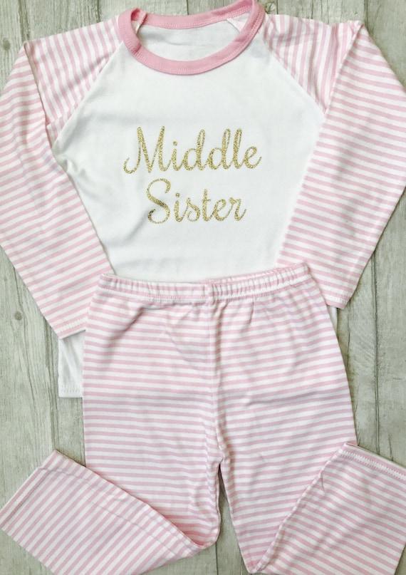 48ff51b81c Girl s Middle Sister Pink   White striped Pyjama Set