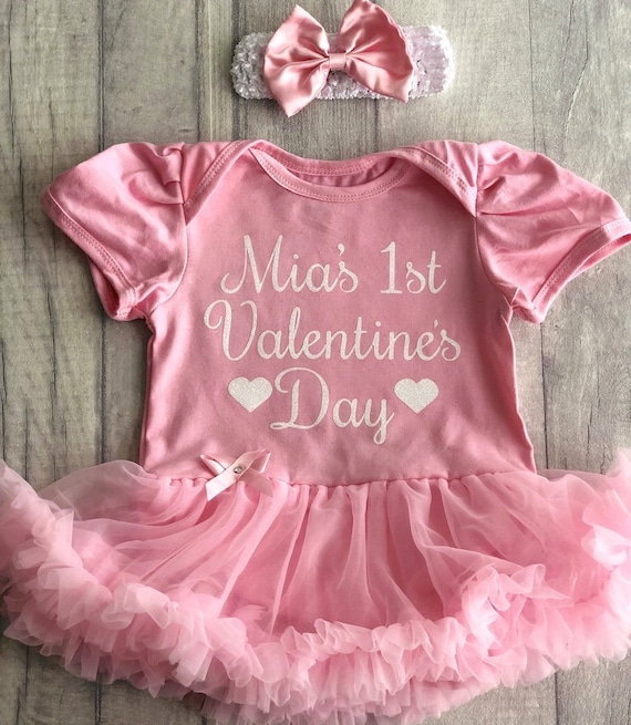 fed909bc7d6 Personalised Baby Girls 1st Valentine s Day Pink Tutu