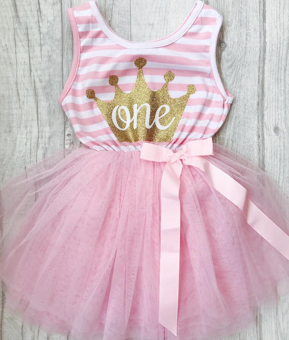 1st Birthday Light Pink Stripe Tutu Dress With Detachable