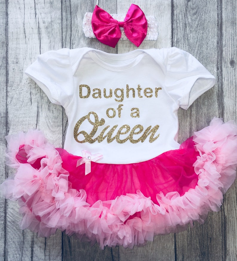 e1ec11d3d9158 Daughter of a Queen Baby Girl's Pink and White Tutu Romper   Etsy