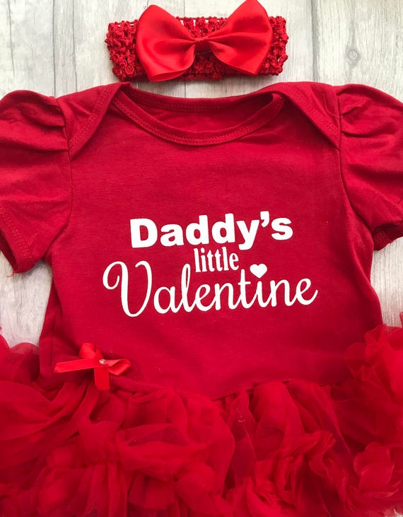 3033ac777 Daddy's Little Valentine Baby Girl's Tutu Romper with | Etsy