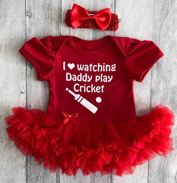 BABY BOY,GIRL Daddy /& I LOVE CRICKET VEST,BODYSUIT,ROMPER ALL SIZES