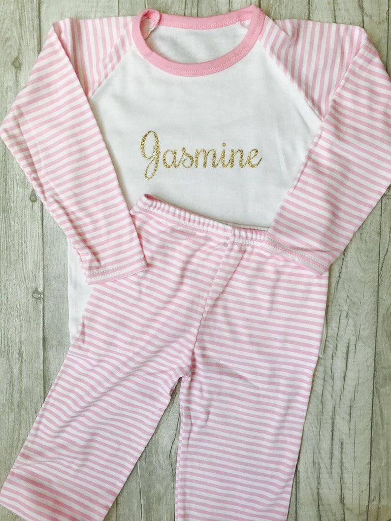e190c4ab73 Girl s Personalised Name Pink   White striped Pyjama Set Top Pants
