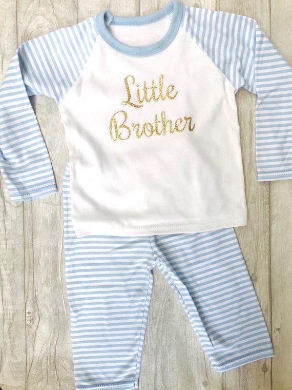 f07ffd47528a Baby Boy s Little Brother Blue   White stripe Pyjama Set