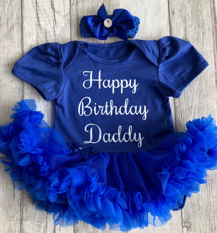 ceec1532974 Happy Birthday Daddy Baby Girl s Blue Tutu Romper Dress