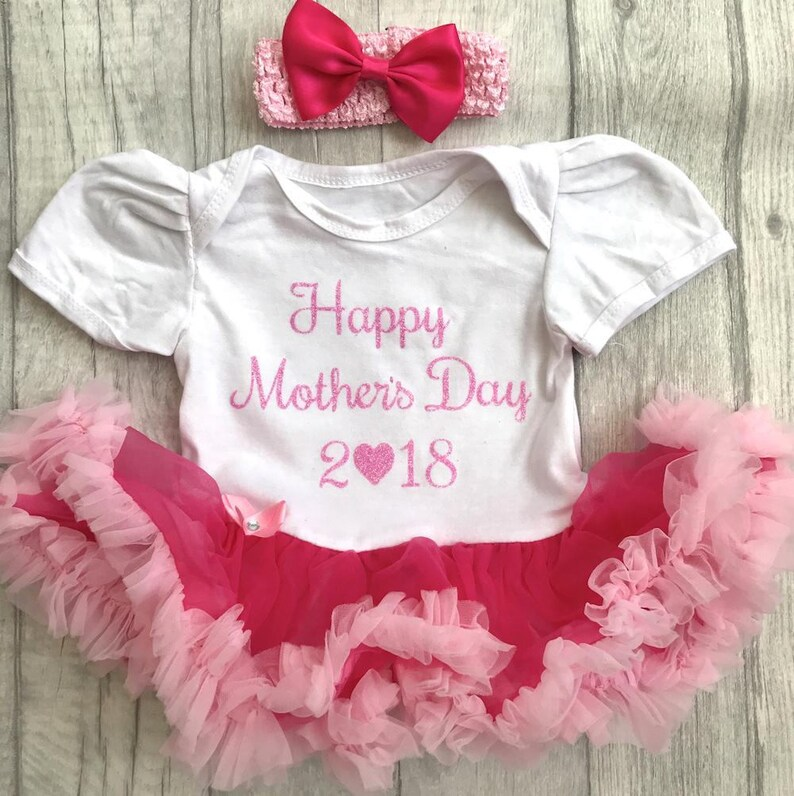 1c985d1cf70f Happy Mothers Day 2019 Baby Girls Pink and White Tutu Romper