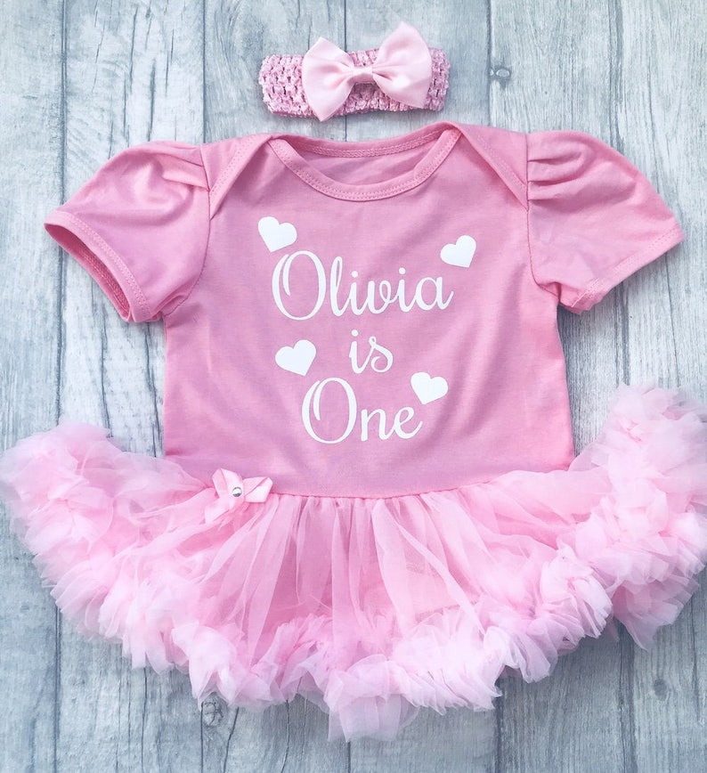 8cee08b70cbb Personalised Name 1st Birthday Pink tutu romper with Bow | Etsy