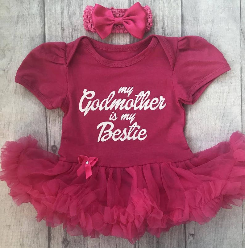 f5720a252064b My Godmother is my Bestie Baby Girl's Pink tutu romper   Etsy