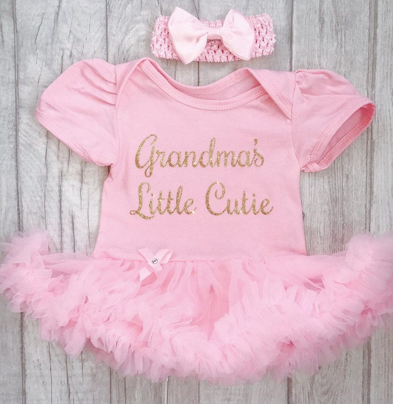 369e2dbb9a872 Grandma's Little Cutie Pink tutu romper with matching bow   Etsy