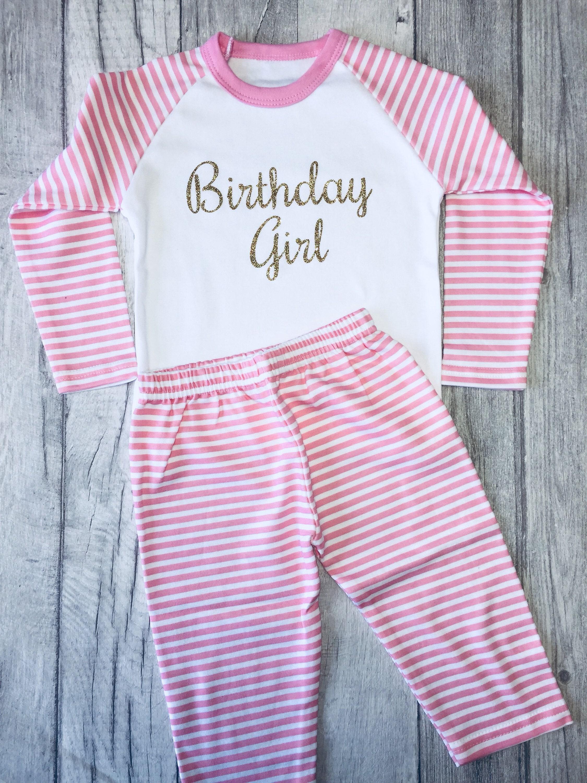 477abc173d Birthday Girl Pink   White striped Pyjama Set Top Pants Baby