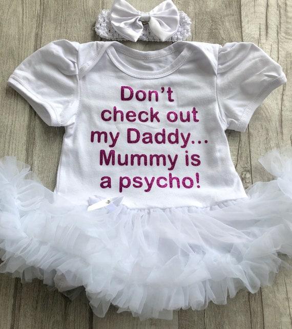 NANA TUTU ROMPER GIFT Newborn Present White Glitter Mum Wont Dad Might Quote