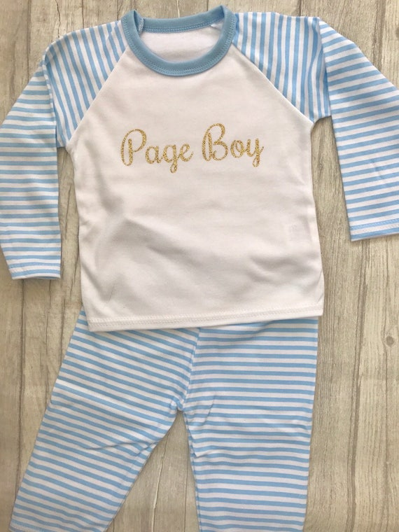 2410c5285dc0 Boy s Page Boy Blue   White striped Pyjama set Top Pants