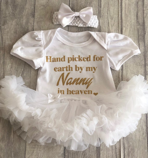 Personalised Baby Girl\'s Heaven Quote White Tutu Romper with Bow Headband,  Princess Newborn Gift Present Love Cute Family Granddaughter