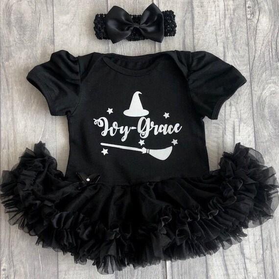 Halloween Newborn Toddler Baby Girls Outfit Witch Hat Print Romper+Tutu Skirt+Headbands Clothes Set