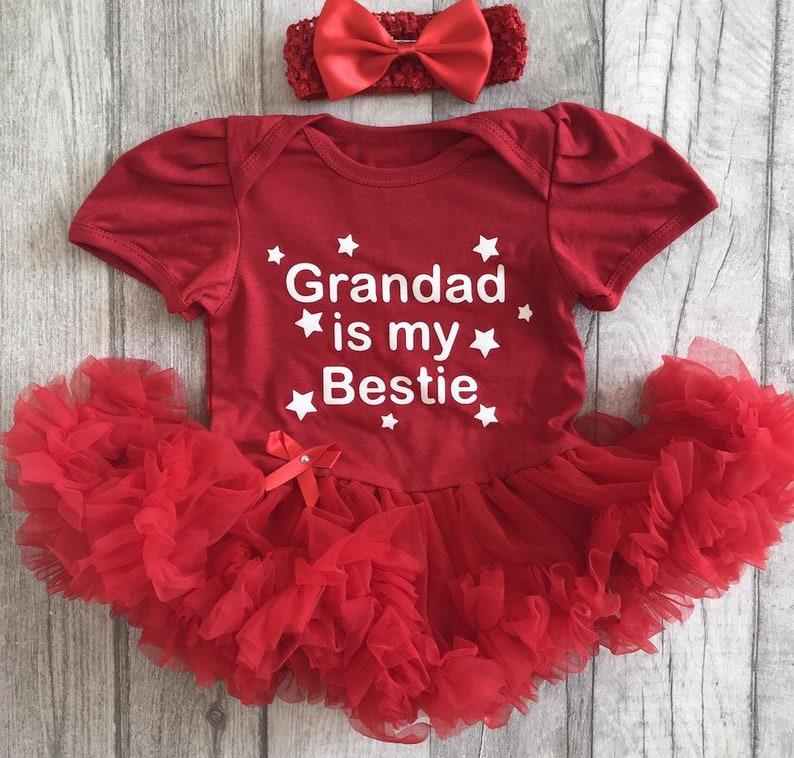 4c11c08f89c Grandad is my Bestie Baby Girl s Red Tutu Romper with Bow Headband