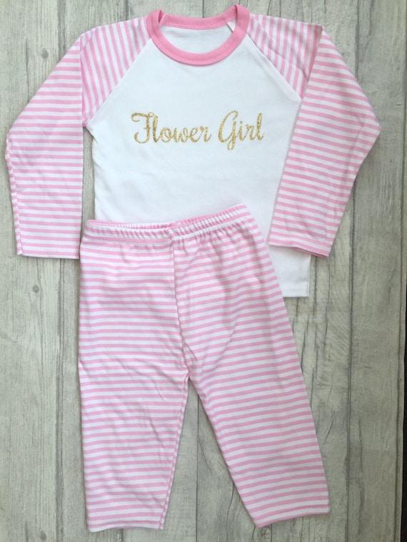 b26a8457c0 Girl s Flower Girl Pink   White striped Pyjama set Top