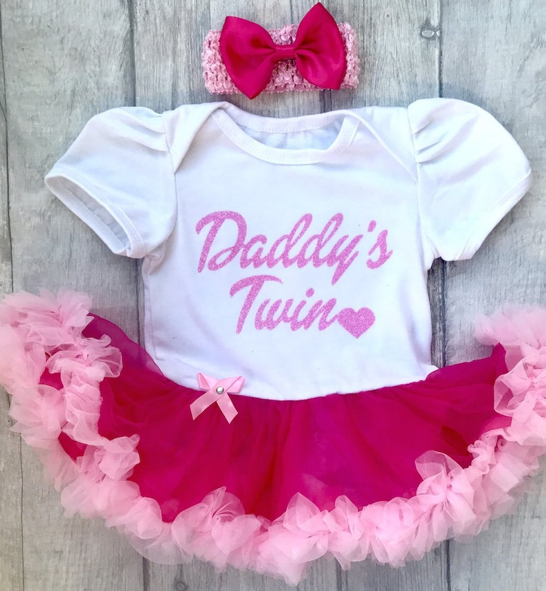 f54bf3a9d19 Baby Girl s Daddy s Twin Pink White Tutu Romper with