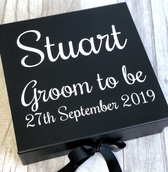 Stag Love Wedding Day Special Personalised Groom to Be Black Box with Ribbon Bow Memory Box Keepsake Box Engagement Present Gift