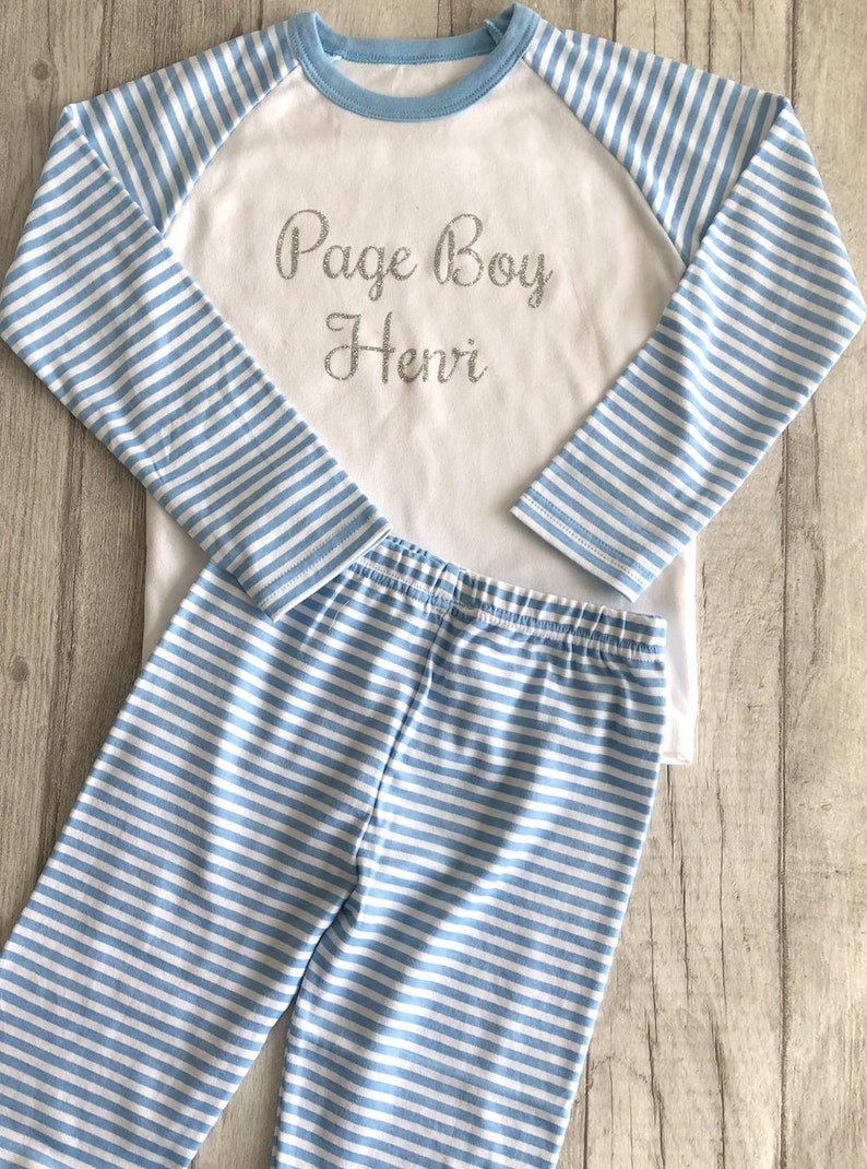 573fc758f7c2 Personalised Boy s Page Boy Blue   White striped Pyjama