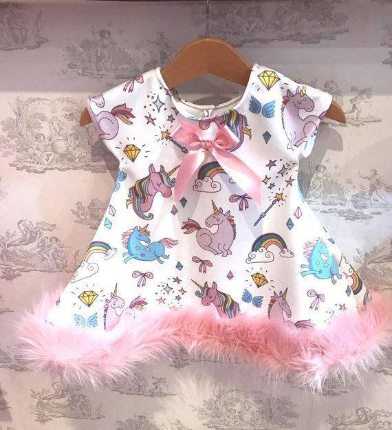 Girl s Unique Unicorn Themed Boutique Dress with Fur Trim  169b7cfbc6