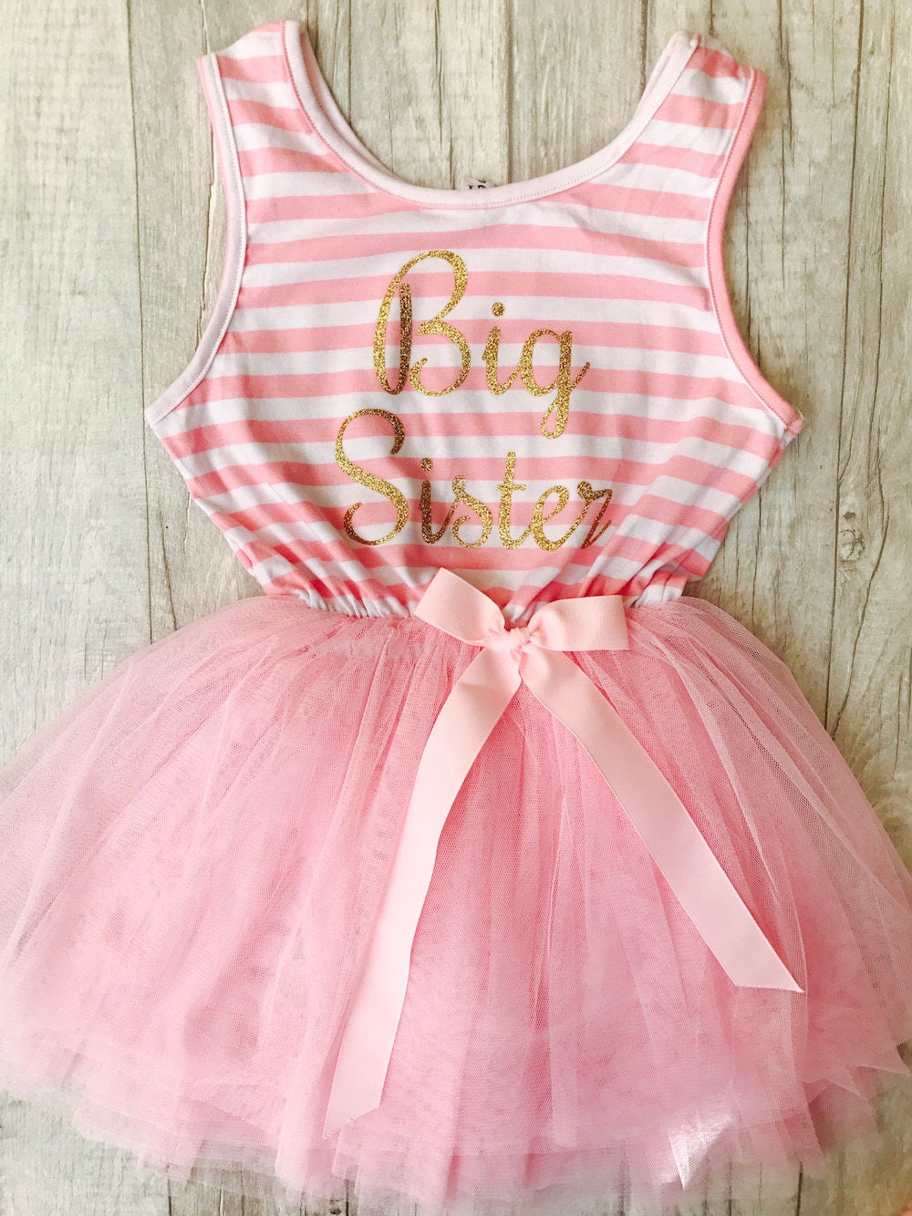 cef2cb600 Big Sister Pink and White striped Tutu dress with detachable