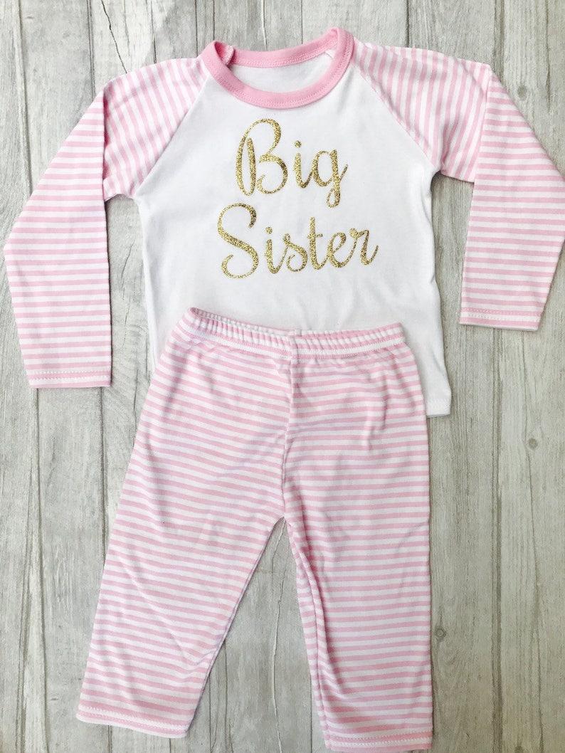 ddba1c7178fa Big Sister Pink   White stripe Pyjama Set Newborn Baby Girl
