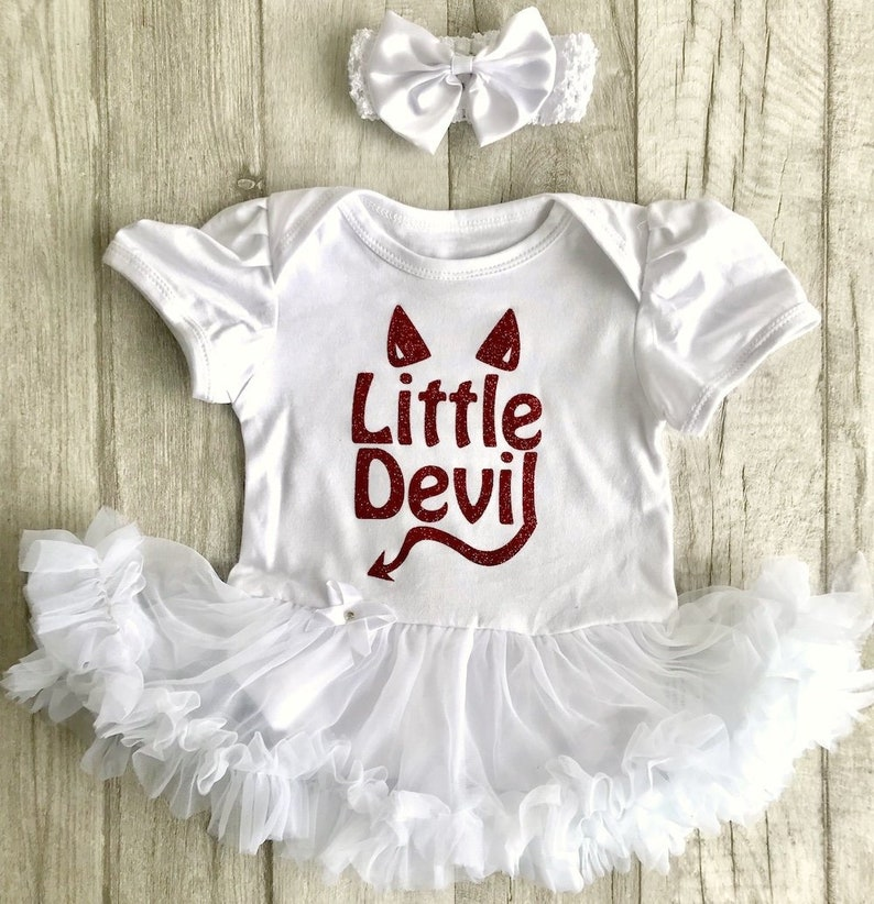 5bdae89798a7 Baby Girl s Little Devil Halloween White tutu romper with