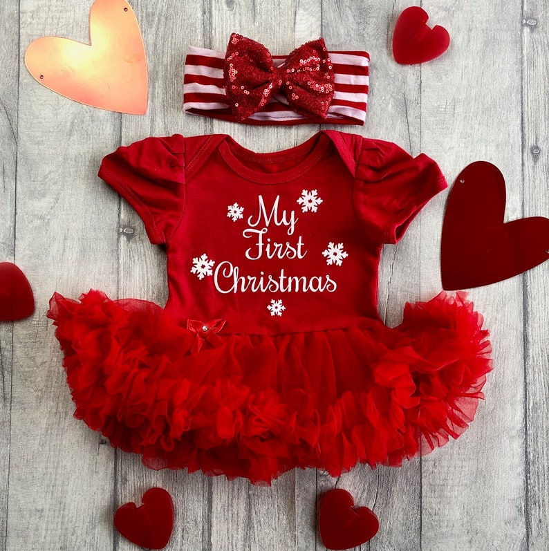 Baby Girl's My First Christmas Red Tutu Romper with Red image 0