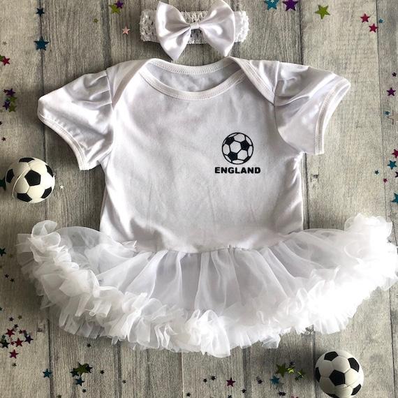 TOTTENHAM FOOTBALL TUTU ROMPER Navy Blue Cutest Fan Silver Football White Dress