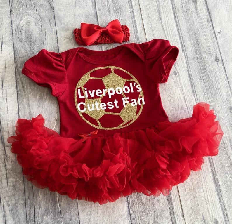Liverpool/'s Cutest Fan Baby girl red tutu romper with headband newborn gold glitter football daddys girl princess white glitter writing
