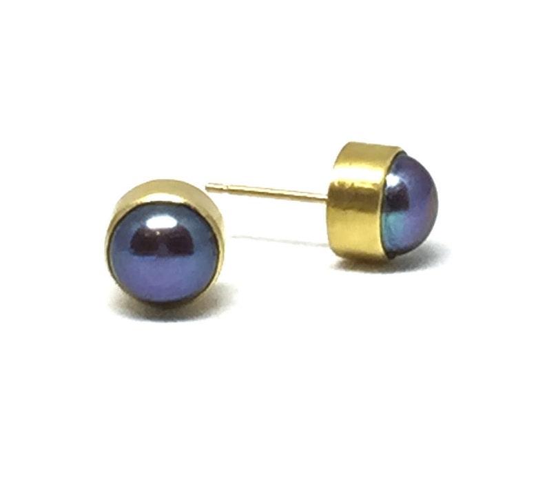b0e8b2312 Tahitian Pearl Stud Earrings Black Pearl Studs 22K Pearl Studs   Etsy