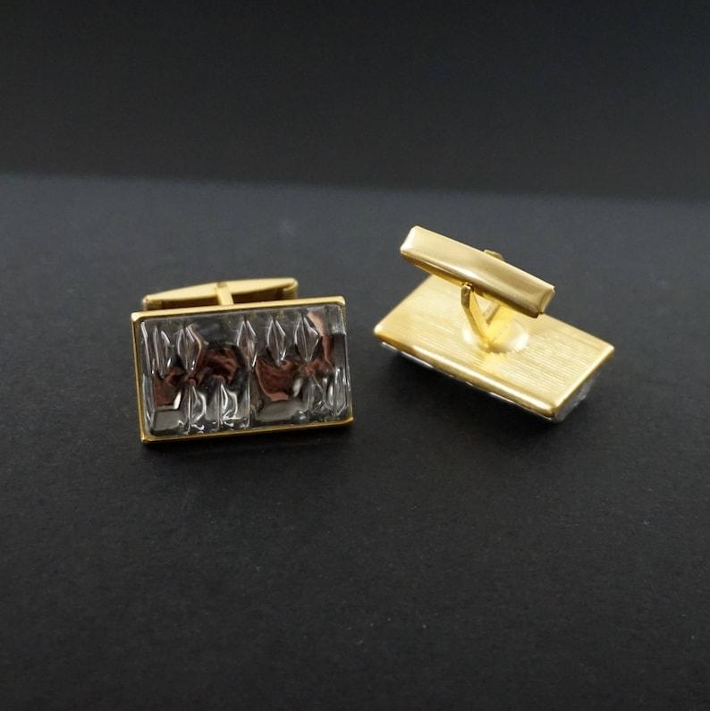 Fathers day gift Mens cuff links Geometric cufflinks Groomsmen cuff links Vntage cuff links Gold cuff links Gray cufflins Shiny cuff