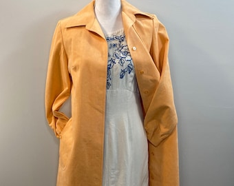 Vintage 1960s/1970s Peach Ultra Suede Trench Coat. Pockets.  Abe Schrader, Hand Washable.  Union Made