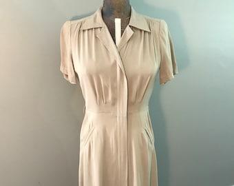 Khaki Wool Gabardine 1940s Dress