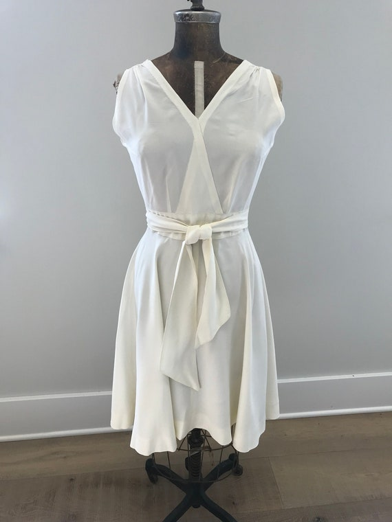 Vintage Handmade 1950s Off-White Wrap Dress