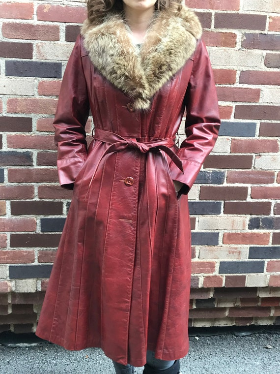 1970s Brick Red Leather Trench with Fur Collar