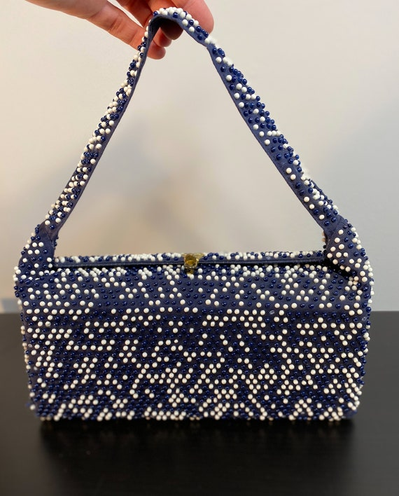 Vintage Rectangular Frame Navy Blue Handbag with B