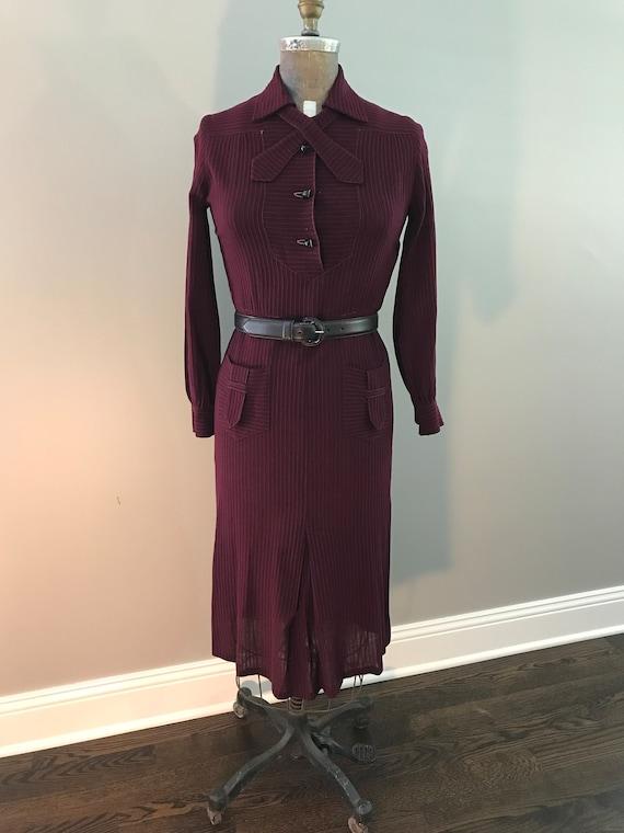 Vintage 1930s Burgundy Self Striped Wool Voile Day