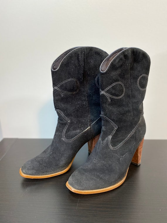 Vintage Black Suede Cowboy Boots with White Contra