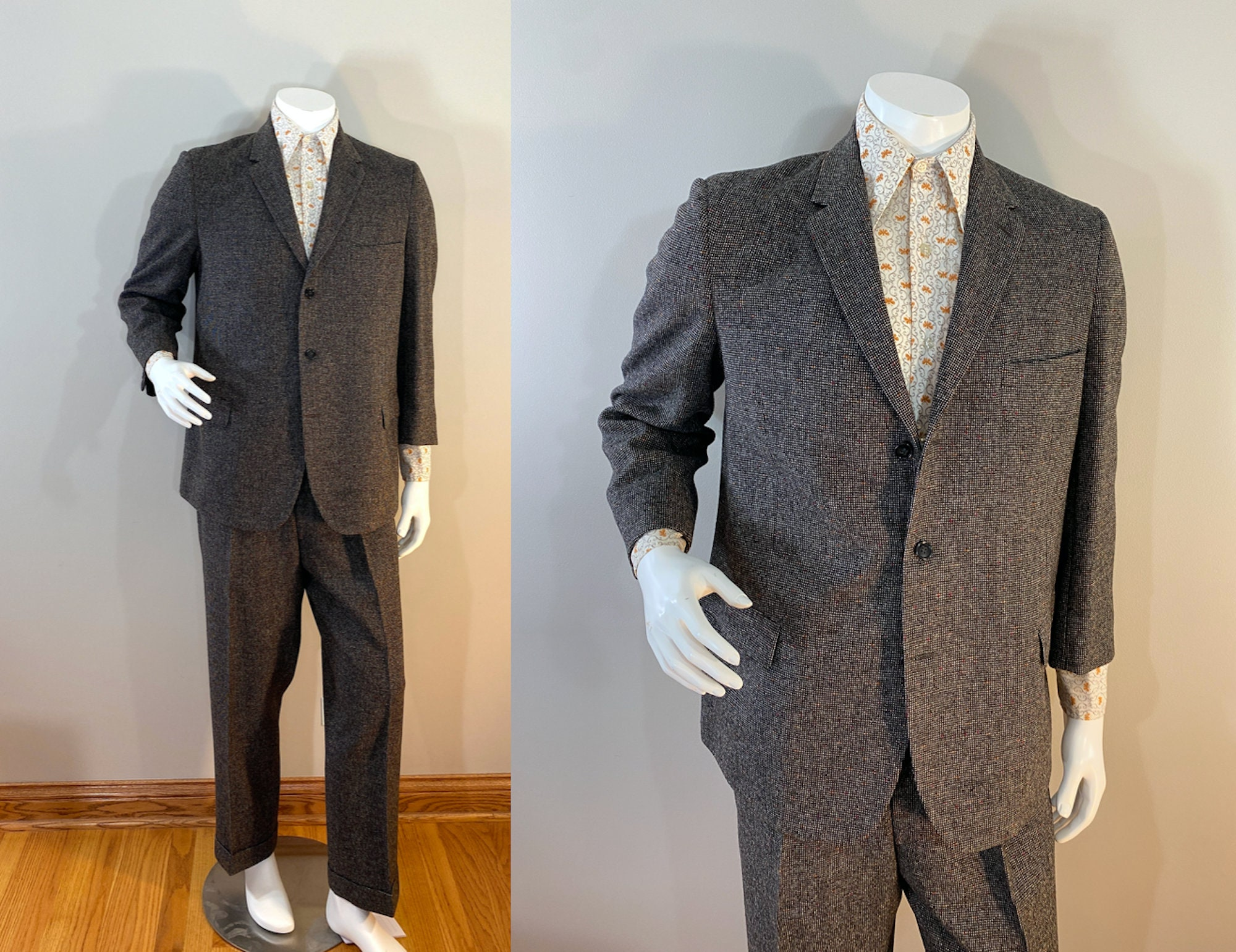 1950s Mens Suits & Sport Coats   50s Suits & Blazers Vintage 1950S Brown Flecked Wool Two Piece Suit, Pleated Trousers, Lord Taylor Tailored By Clarks Lincoln. With Red  White Weave $225.00 AT vintagedancer.com