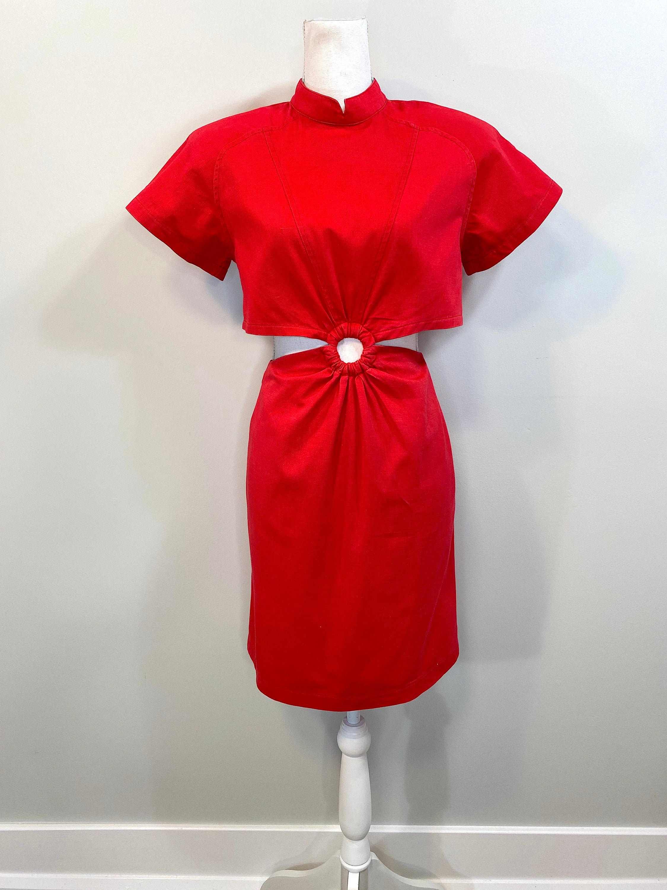 80s Dresses | Casual to Party Dresses Vintage 1980S Red Dress - Crop Top With Pencil Skirt Connected A Ring. Padded Shoulder, Short Raglan Sleeve. Buttons Up The Back $0.00 AT vintagedancer.com