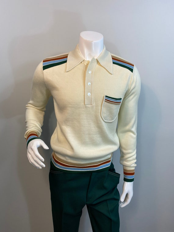 Vintage JCPenny Mens Ivory Acrylic Henley Sweater