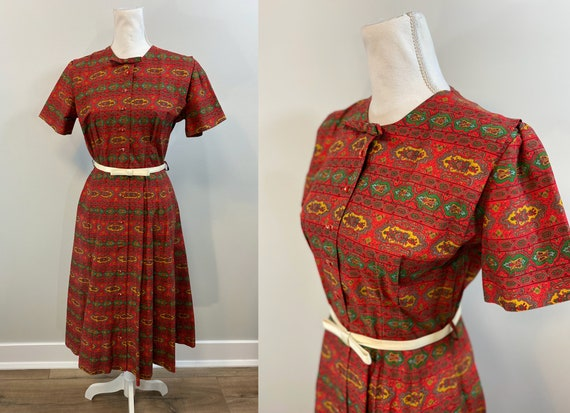 Vintage Red Cotton Print Shirtwaist Dress.  1950s